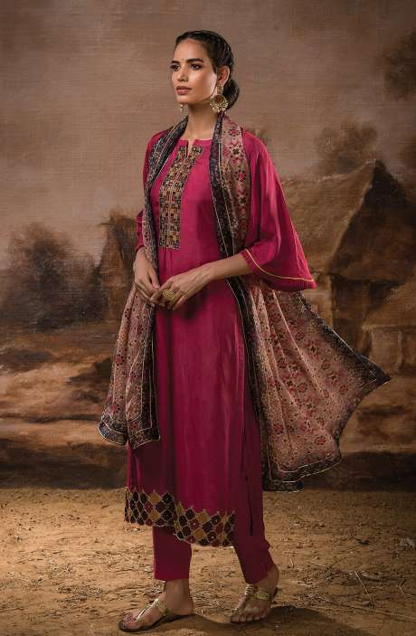 Russian Silk Unstitched Salwar Kameez In Rose Red with Beautiful Silk Dupatta - PEH1116B