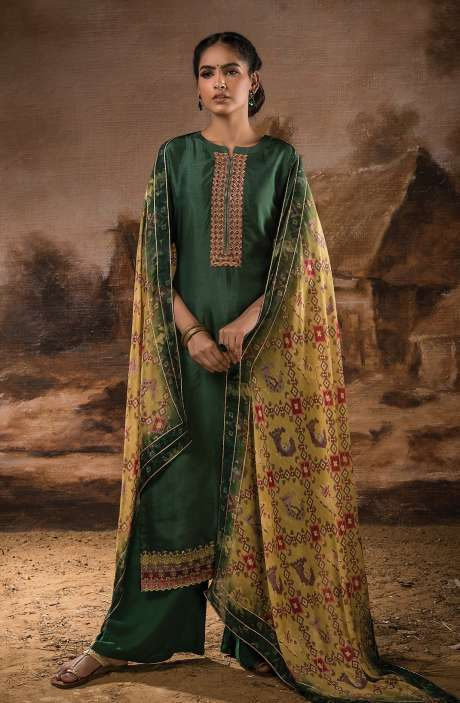 Russian Silk Unstitched Salwar Kameez In Bottle Green with Beautiful Silk Dupatta - PEH1117A