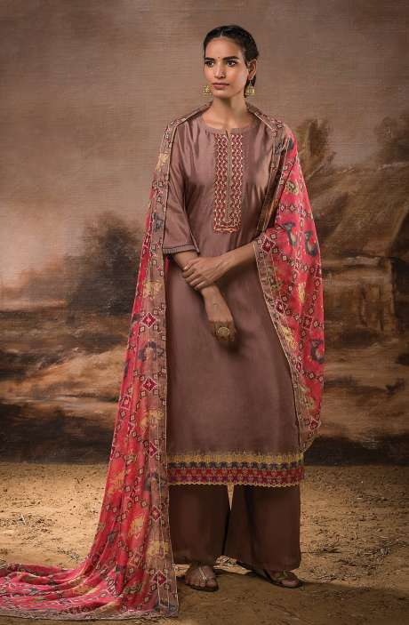 Russian Silk Unstitched Salwar Kameez In Brown with Beautiful Silk Dupatta - PEH1117B