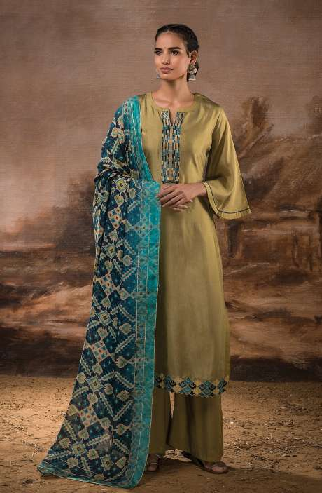Russian Silk Unstitched Salwar Kameez In Mehndi with Beautiful Silk Dupatta - PEH1118B