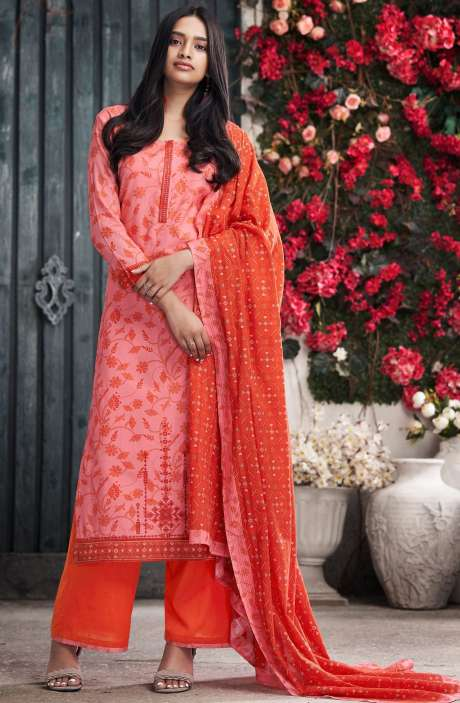 Cotton Digital Print Peach & Red Salwar Suit - PET7501