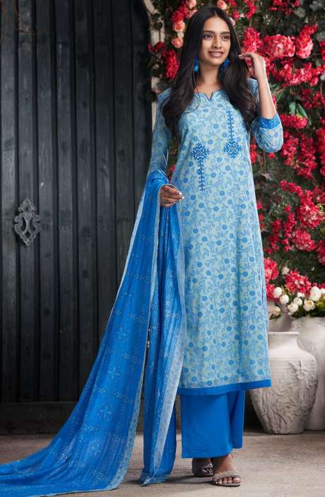 Cotton Digital Print Blue Salwar Suit - PET7502
