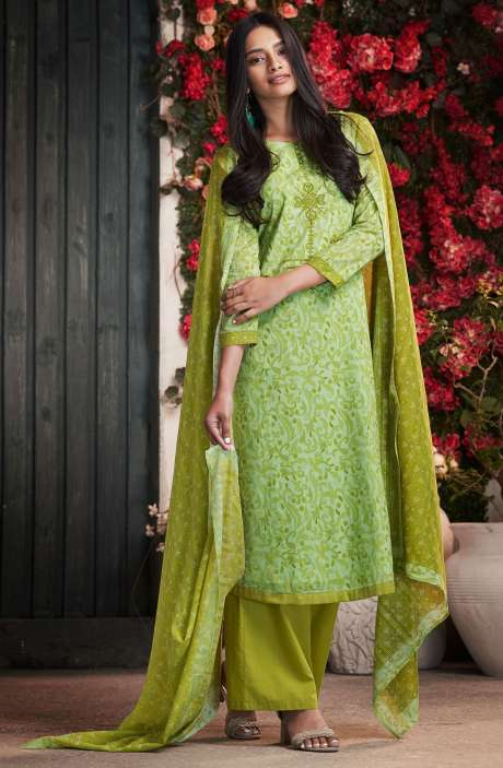 Cotton Digital Print Mehndi Green Salwar Suit - PET7503
