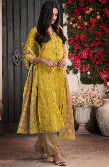 Cotton Digital Print Mustard & Brown Salwar Suit - PET7504