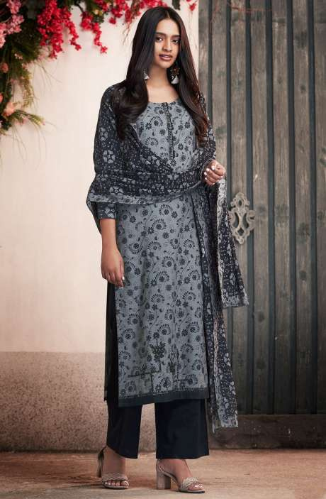 Cotton Digital Print Grey & Black Salwar Suit - PET7507