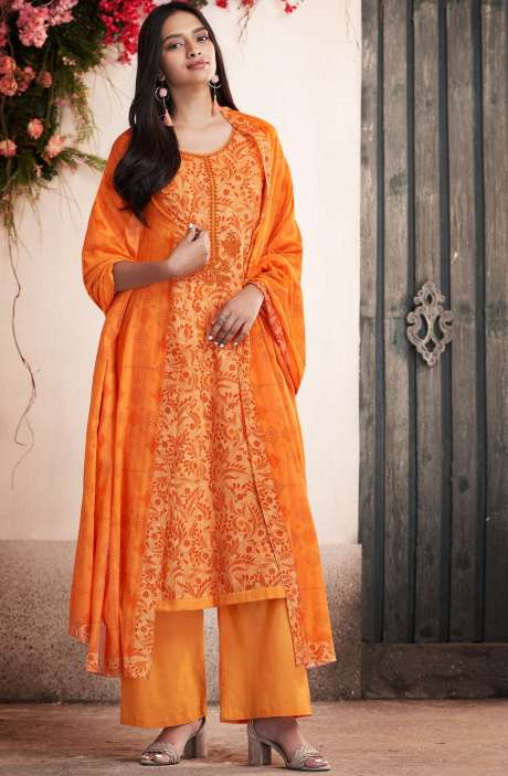 Cotton Digital Print Orange Salwar Suit - PET7509