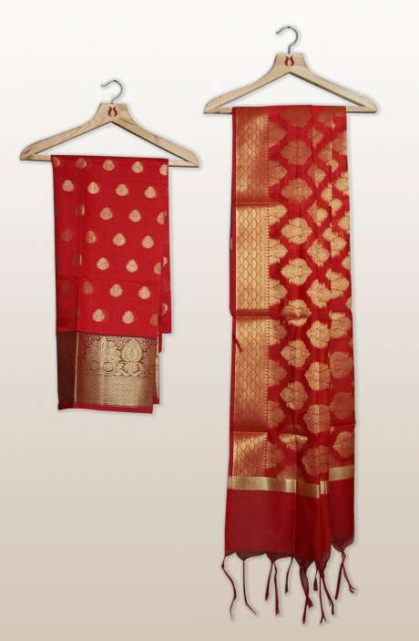 Chanderi Silk Unstitched Salwar Kameez In Red with Banarasi Dupatta - PFBCND7469A