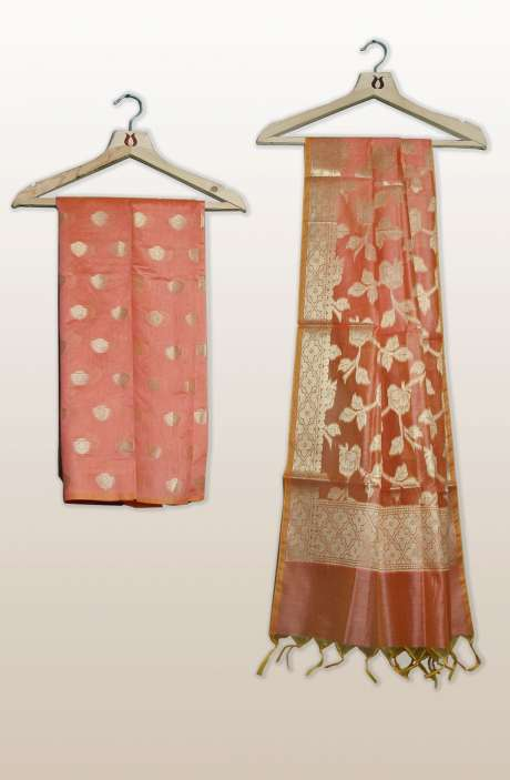 Chanderi Silk Unstitched Salwar Kameez In Peach with Banarasi Dupatta - PFBCND7469B