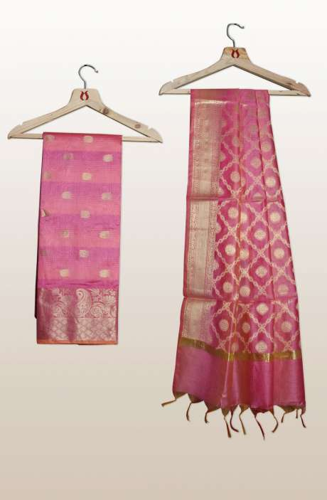 Chanderi Silk Unstitched Salwar Kameez In Pink with Banarasi Dupatta - PFBCND7469BP