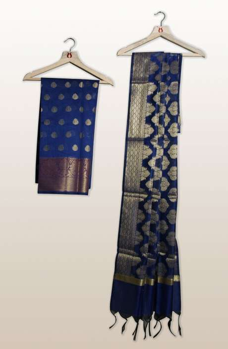 Chanderi Silk Unstitched Salwar Kameez In Royal Blue with Banarasi Dupatta - PFBCND7469D