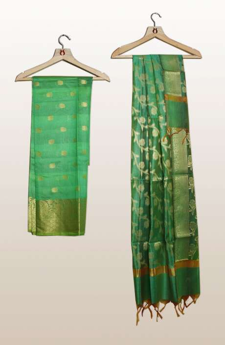 Chanderi Silk Unstitched Salwar Kameez In Green with Banarasi Dupatta - PFBCND7469G