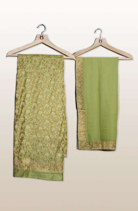 Banarasi Cotton Silk Unstitched Salwar Suit Sets In Green with Dupatta - PFBCND7498