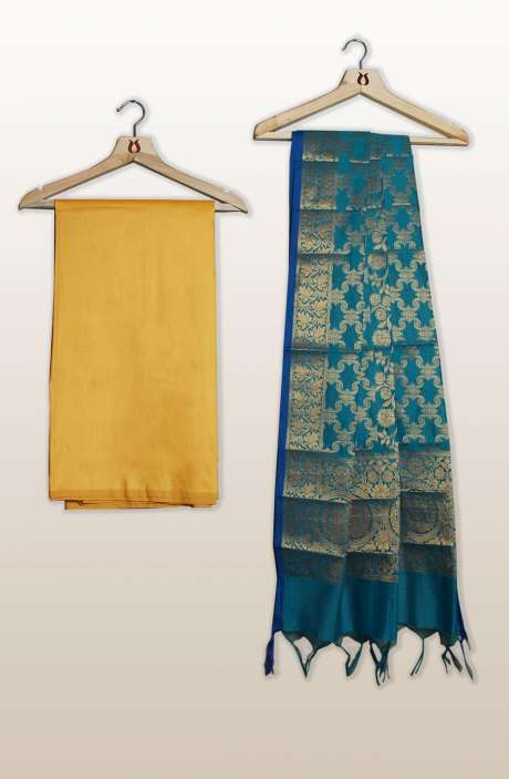 Cotton Silk Unstitched Salwar Kameez In Yellow with Banarasi Dupatta - PFBCTN7502B