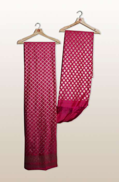 Banarasi Chanderi Silk Unstitched Salwar Suit Sets In Rani Pink with Dupatta - PFBSLK7495A