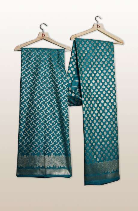 Banarasi Chanderi Silk Unstitched Salwar Suit Sets In Bottle Green with Dupatta - PFBSLK7495C