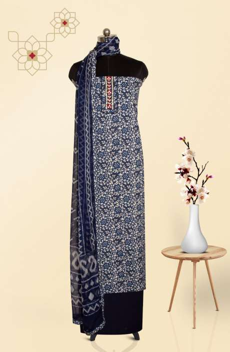 Cotton Printed Salwar Suit Set in Blue & White - PFSCOT4071-1A