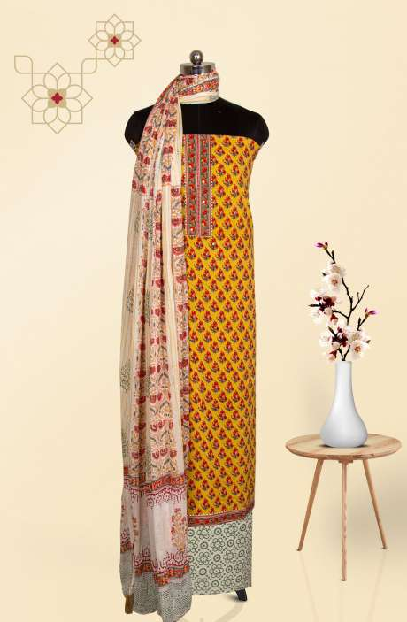 Beautiful Cotton Floral Printed Salwar Suit in Yellow & Multi - PFSCOT4072-1C