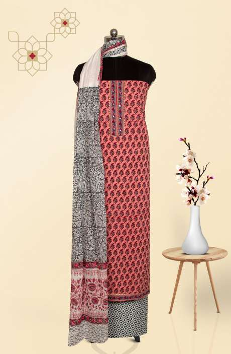 Beautiful Cotton Floral Printed Salwar Suit in Pink & Multi - PFSCOT4072-3A