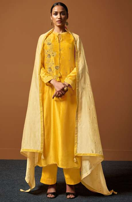 Festive Collection Chanderi Cotton Mustard Salwar Suit with Zari and Sequence Work - PIR137