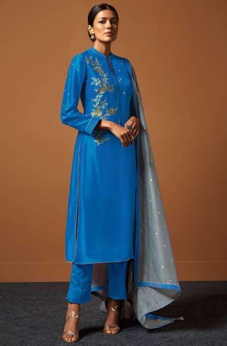 Festive Collection Chanderi Cotton Royal Blue Salwar Suit with Zari and Sequence Work - PIR158
