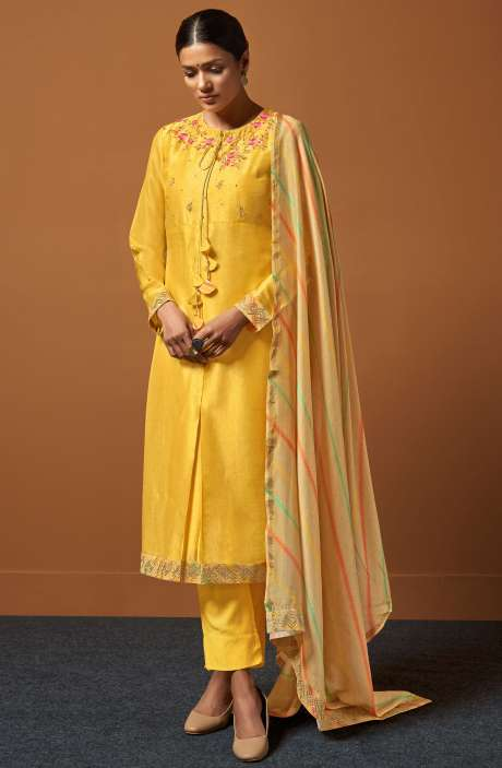Festive Collection Chanderi Cotton Yellow Salwar Suit with Zari and Sequence Work - PIR165