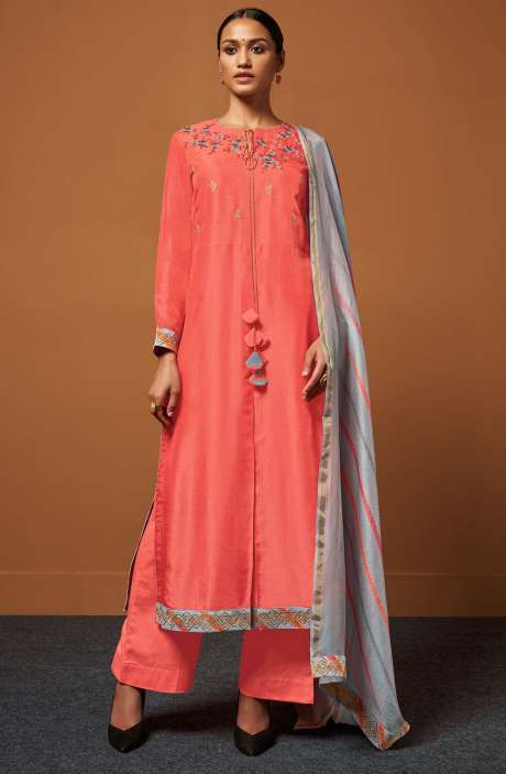 Festive Collection Chanderi Cotton Peach Salwar Suit with Zari and Sequence Work - PIR188
