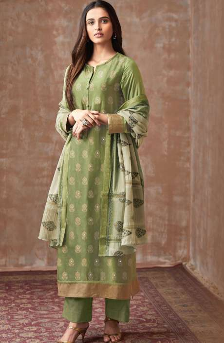 Casual Chanderi Cotton Mehndi Green Salwar Suit - PIS611