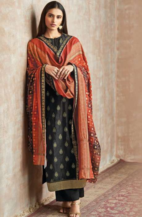 Casual Chanderi Cotton Black Salwar Suit - PIS640