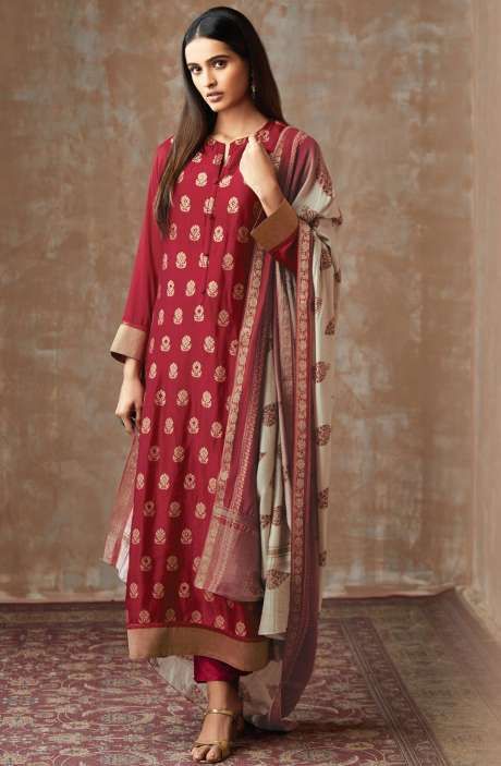 Casual Chanderi Cotton Maroon Salwar Suit - PIS655