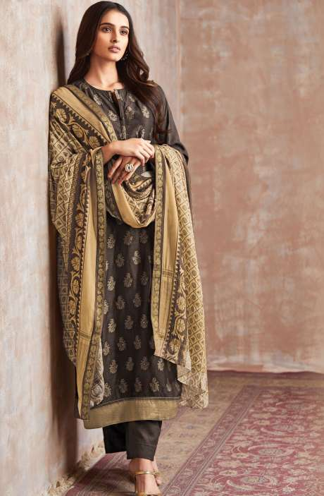 Casual Chanderi Cotton Coffee Brown Salwar Suit - PIS658