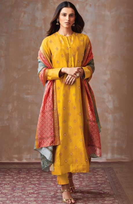 Casual Chanderi Cotton Mustard Yellow Salwar Suit - PIS682
