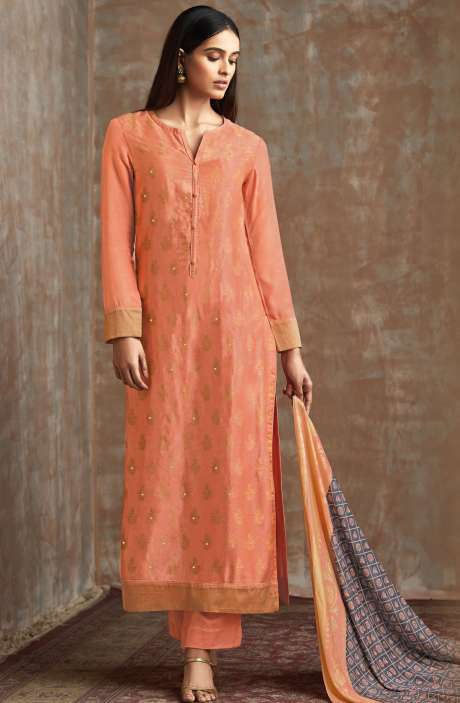 Casual Chanderi Cotton Peach Salwar Suit - PIS690