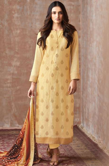Casual Chanderi Cotton Yellow Salwar Suit - PIS698
