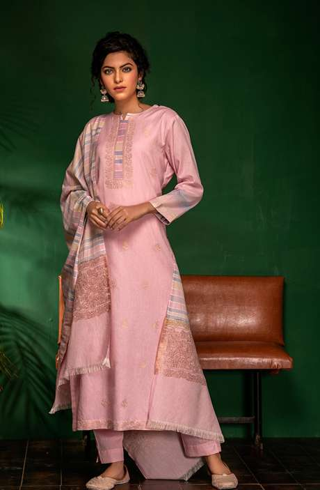 Cotton Woven Unstitched Salwar Kameez In Pink - PRA7041