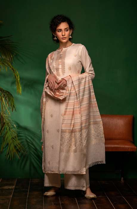 Cotton Woven Unstitched Salwar Kameez In Cream - PRA7043