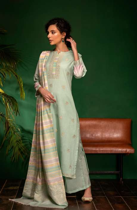 Cotton Woven Unstitched Salwar Kameez In Sea Green - PRA7045