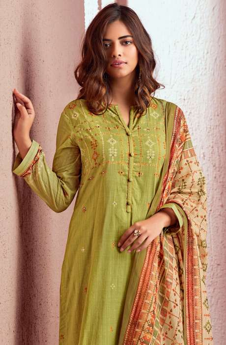 Cotton Digital Printed Salwar Kameez In Mehndi Green - PRE548