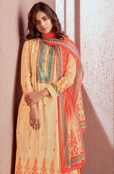 Cotton Digital Printed Salwar Kameez In Light Yellow - PRE567