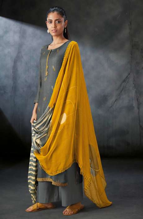 Spun Printed Salwar Kameez In Grey with Chiffon Dupatta - PRES0191C