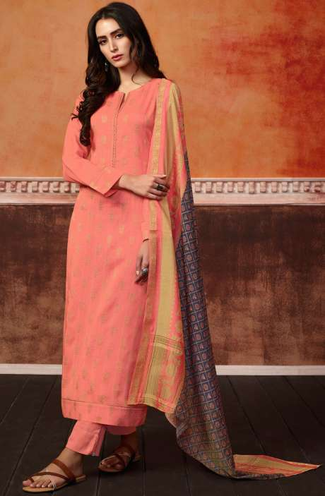 Spun Wool Ready-to-Stitch Designer Printed Salwar Kameez In Peach - PRI419