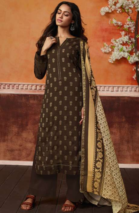 Spun Wool Ready-to-Stitch Designer Printed Salwar Kameez In Coffee Brown - PRI462