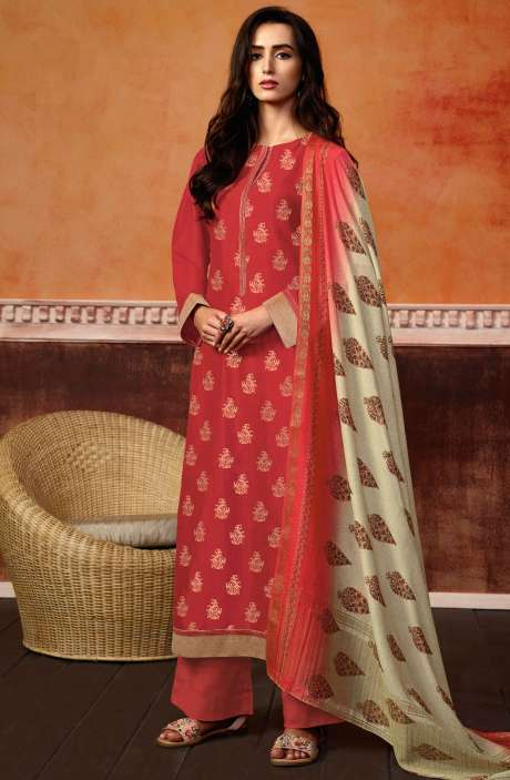 Christmas Special Red Spun Wool Ready-to-Stitch Designer Printed Salwar Kameez - PRI464