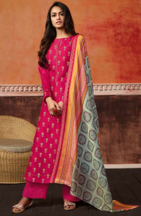 Trendy Pink Spun Wool Ready-to-Stitch Designer Printed Salwar Kameez - PRI482