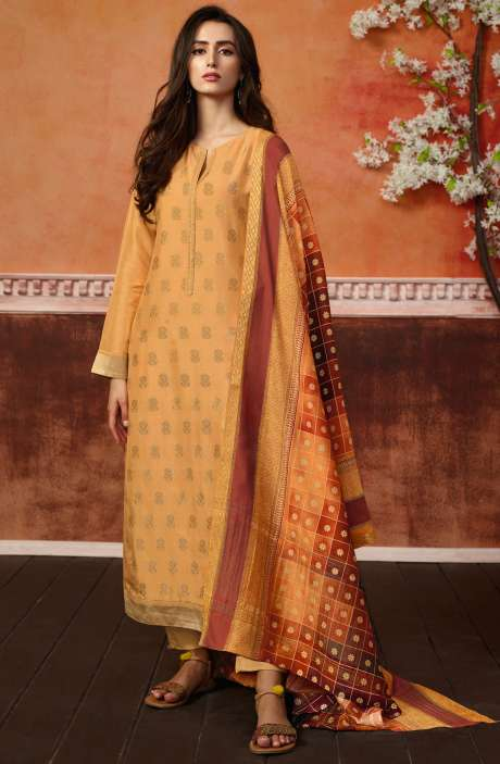 Spun Wool Ready-to-Stitch Designer Printed Salwar Kameez In Yellow - PRI496