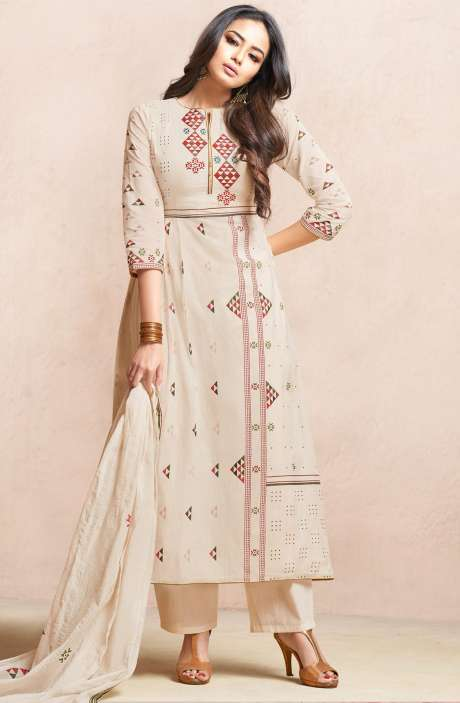 Casual Cotton Digital Print with Machine Embroidery Salwar Kameez In Cream - QUI4408-R