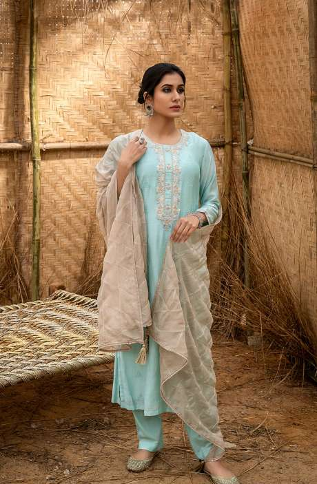 Muslin Silk Exclusive Embroidered Salwar Suit In Sea Green with Beautiful Dupatta - QUS6020