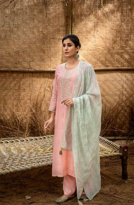Muslin Silk Exclusive Embroidered Salwar Suit In Peach with Beautiful Dupatta - QUS6022