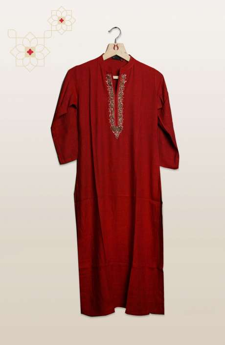 Women Maroon Cotton Kurtis - R104-104113A
