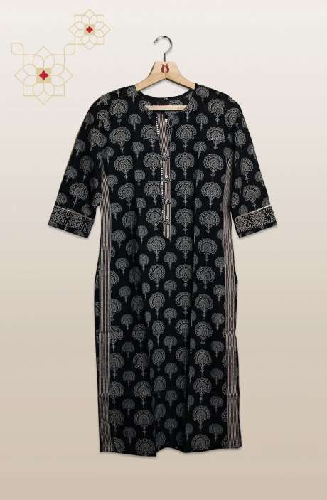 Women Black Printed Cotton Kurtis - R104-13315