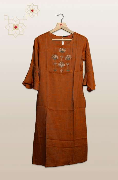 Women Brown Cotton Kurtis with Bell Sleeves - R104-53120